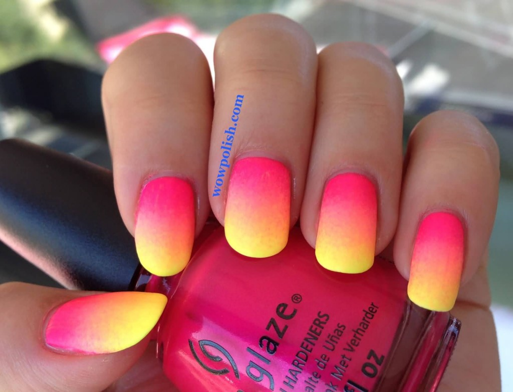 neon-pink-and-yellow-ombre-nail-art
