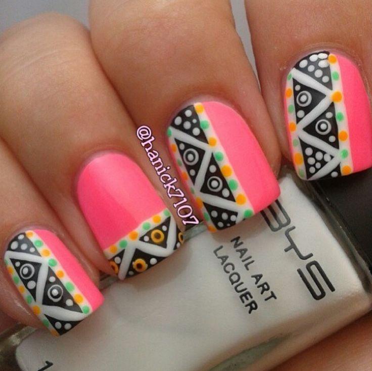 neon-pink-tribal-design-nail-art