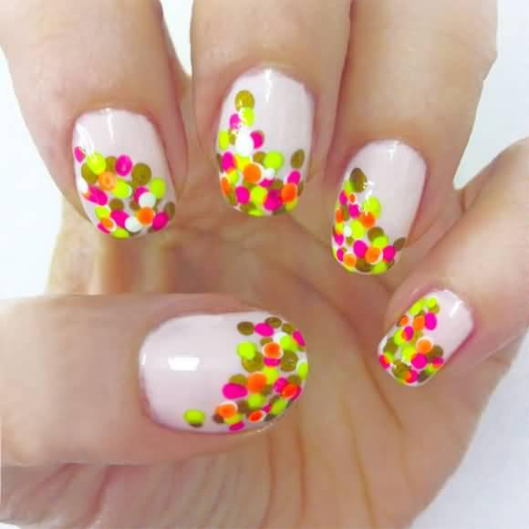 neon-polka-dots-nail-design