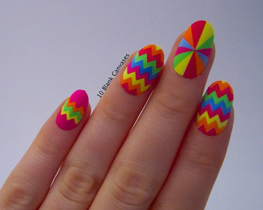 neon-rainbow-chevron-design-nail-art