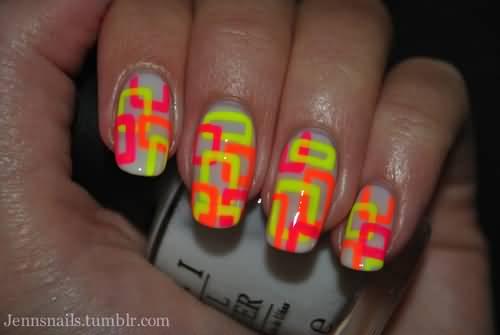 neon-yellow-and-orange-pattern-design-nail-art