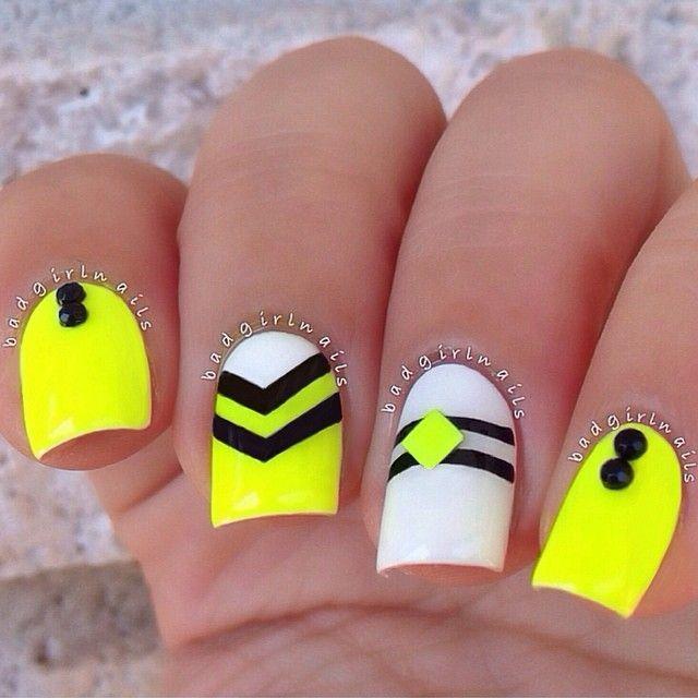 neon-yellow-nails-with-black-chevron-design-nail-art