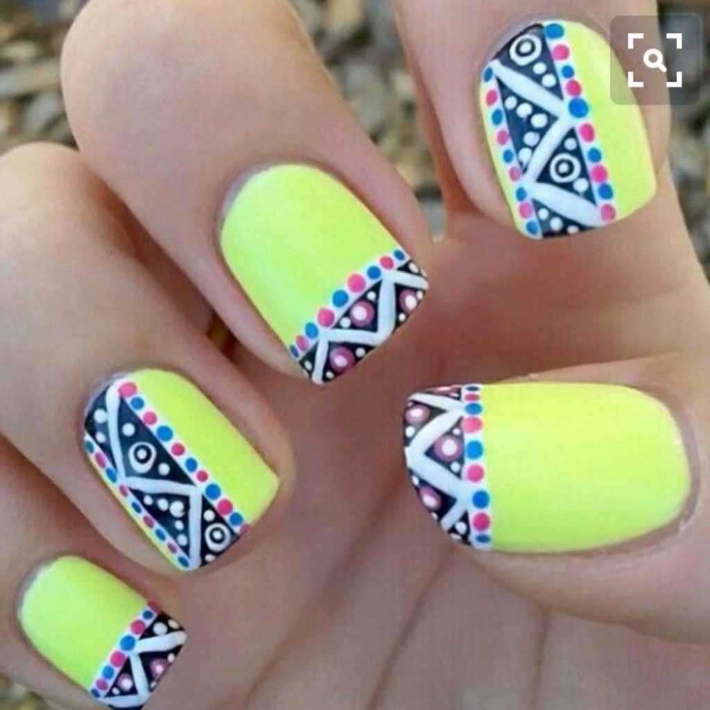 neon-yellow-nails-with-tribal-design-nail-art