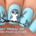 Nail art tribal de Buhos paso a paso