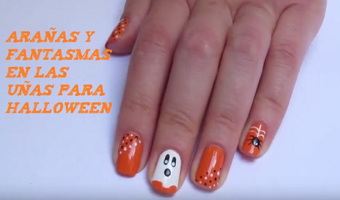Arañas Y Fantasmas En Las Uñas Para Halloween Decoración