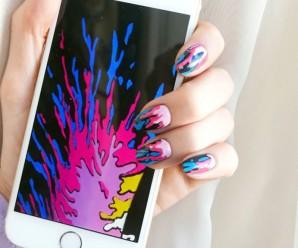 Diseño de uñas de esmalte derramado de Madeline Poole