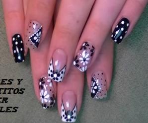 Nail art super facil para principiantes de flores y puntitos