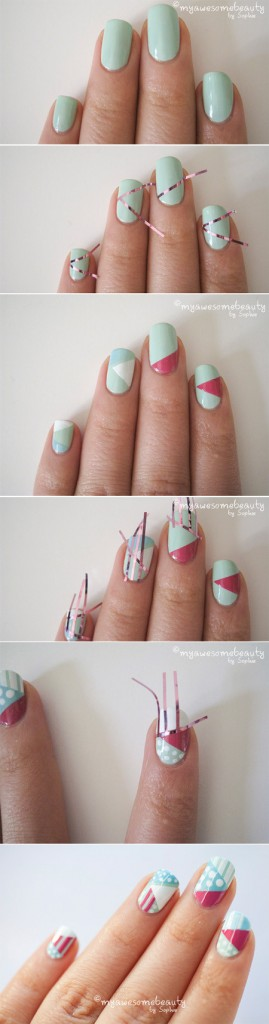 Ideas para decorar uñas con cinta adhesiva Muy facil 1