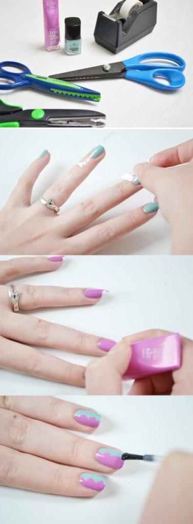 Ideas para decorar uñas con cinta adhesiva Muy facil 2