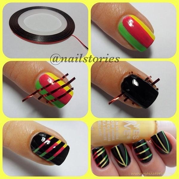 Ideas para decorar uñas con cinta adhesiva Muy facil 6