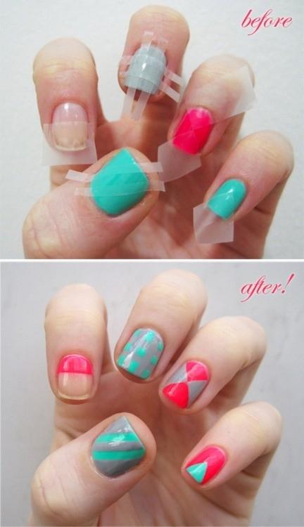 Ideas para decorar uñas con cinta adhesiva Muy facil 8