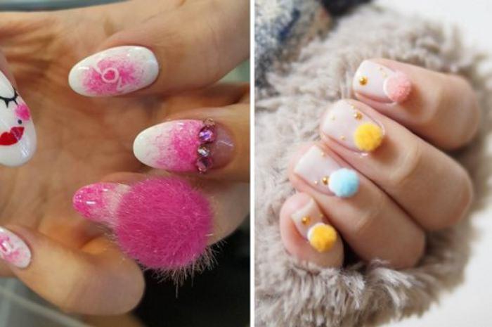 Decoracion de uñas con pompones 3