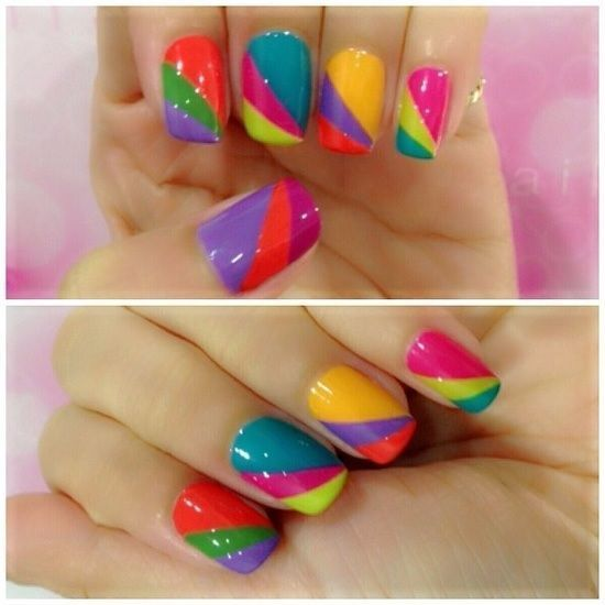 Ideas de uñas multicolores 6